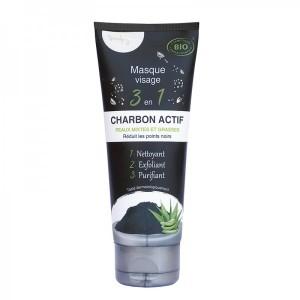 Masque Visage 3 en 1 - Charbon Actif - Peaux Mixtes & Grasses - Bio4you